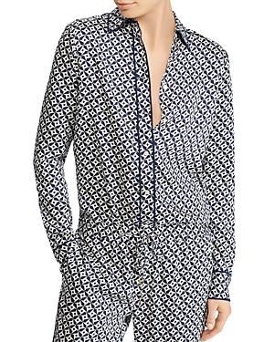 Ralph Lauren Lauren  Geometric-print Pajama-style Top In Navy/white