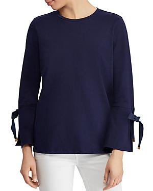 Ralph Lauren Lauren  Jersey Tie-cuff Top In Navy