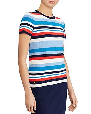 Ralph Lauren Lauren  Striped Short-sleeve Sweater In Multi