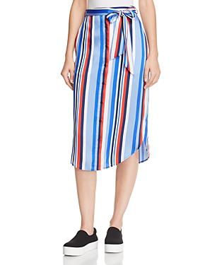 Ralph Lauren Lauren  Striped Twill Midi Skirt In Multi