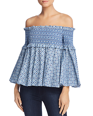 Petersyn Davenport Smocked Off-the-shoulder Top In Pool Print