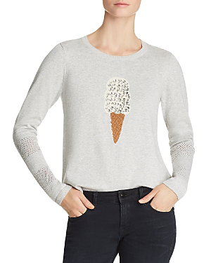 Lisa Todd Lickety Split Embellished Sweater In Sea Salt