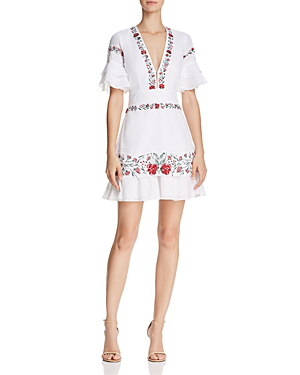 Saylor Floral Embroidered Dress In White Multi