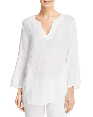 Side Stitch Linen Tunic In White
