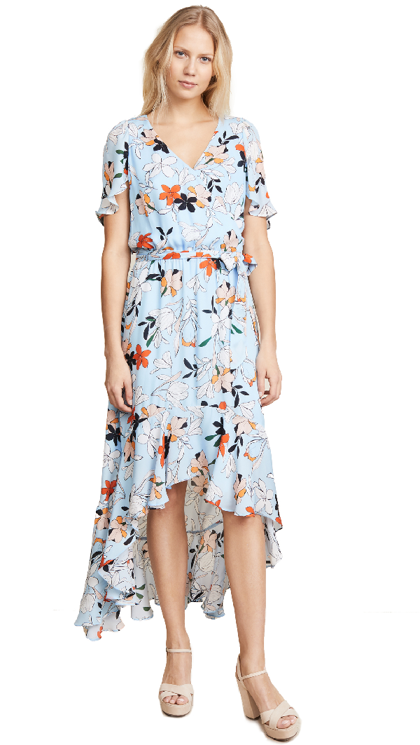 Parker Demi Floral-print Silk High-low Wrap Dress In Clear Moondance