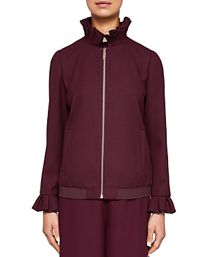 Ted Baker Ted Says Relax Lydiah Ruffled Bomber Jacket In Oxblood