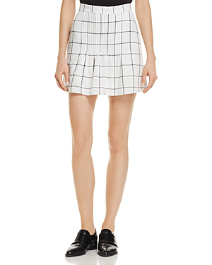 The Fifth Label Atticus Pin-tucked Checked Skirt In White/charcoal