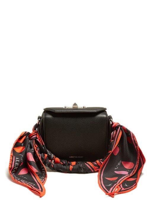 Alexander Mcqueen Scarf-handle Leather Box Bag In Black Multi