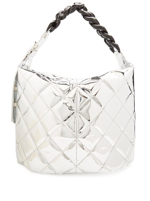 Marques' Almeida Oversized Quilted Curb-chain Bag In Silver