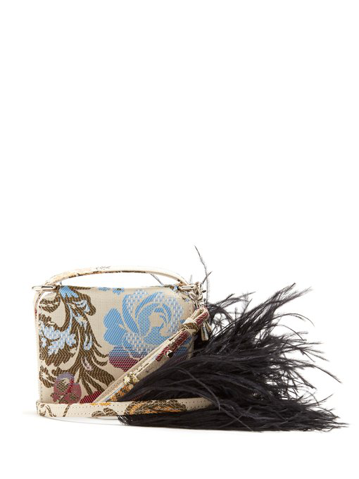 Marques' Almeida Feather Strap Floral-jacquard Cross-body Bag In White Multi