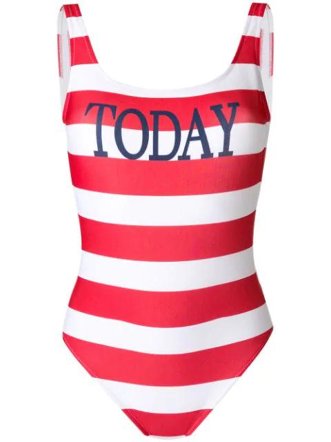 Alberta Ferretti Today Striped Swimsuit In Red