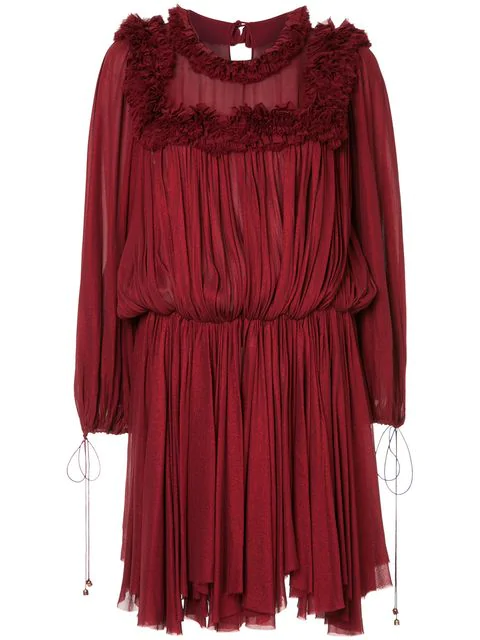 Maria Lucia Hohan Ruffle Trimmed Pleated Dress In Red