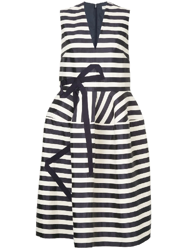 Delpozo Bow AppliquÉ Striped Dress