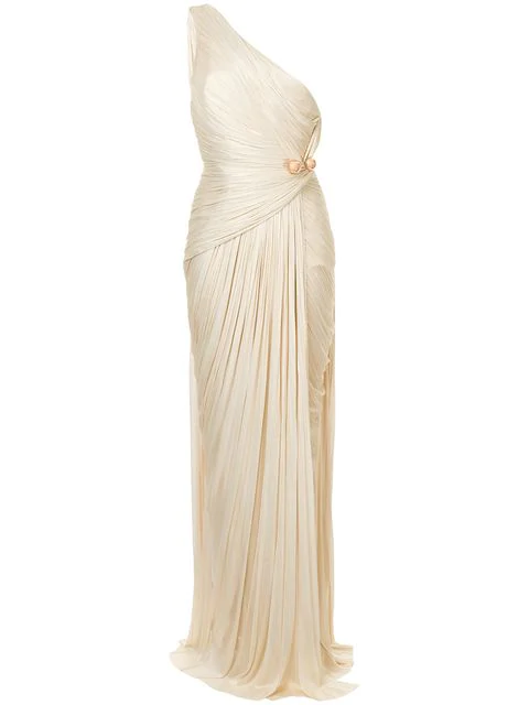 Maria Lucia Hohan Gathered One Shoulder Gown - Neutrals In Nude & Neutrals