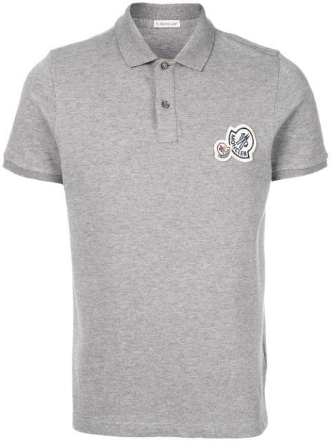 Moncler Logo Polo Shirt Light Grey