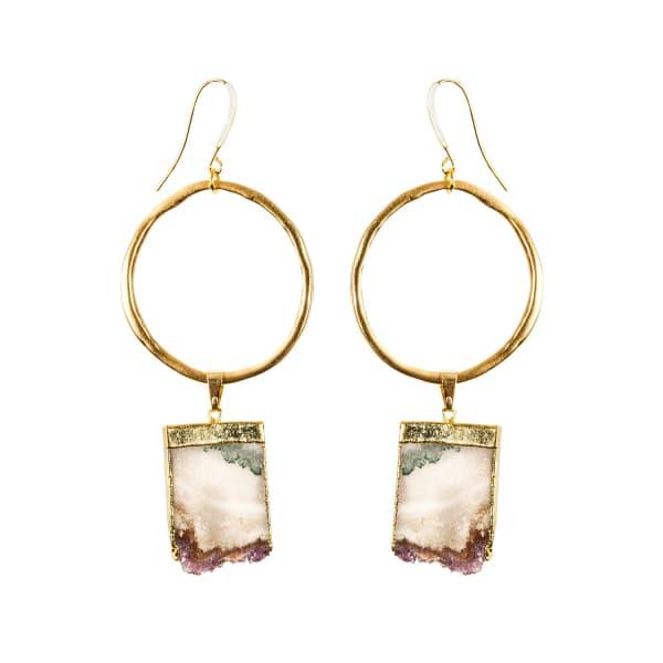 Tiana Jewel Amethyst Gold Hoop Earrings Sari Collection