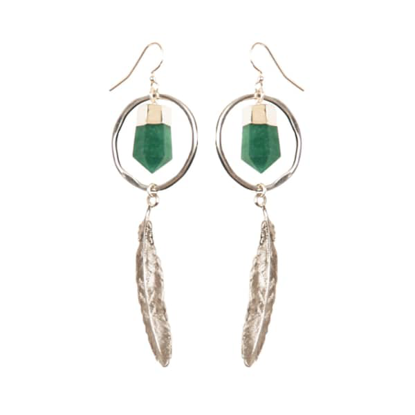 Tiana Jewel Feather Canyon Green Quartz Hoop Earrings Silver