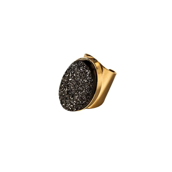 Tiana Jewel Saffire Black Metallic Druzy Adjustable Cuff Ring