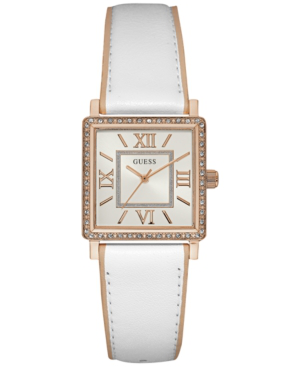 Guess Women's White & Beige Leather Strap Watch 28mm U0829l11