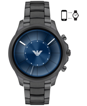 Emporio Armani Men's Connected Gray Stainless Steel Bracelet Touchscreen Smart Watch 46mm In Gunmetal