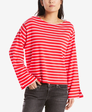 Levi's Erin Bell-sleeve T-shirt In Red And White Stripe