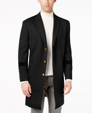 Tallia Men's Big & Tall Slim-fit Peak-lapel Overcoat With Tonal Velvet Trim In Black