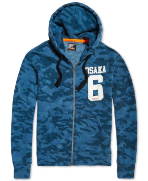 Superdry Men's Osaka 6 Camo Full-zip Hoodie In Overdye Mojolica Blue