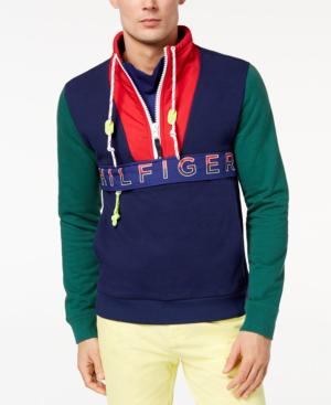 Tommy Hilfiger Men's Newport Colorblocked Logo-Print Sweatshirt, Created For Macy's In Green