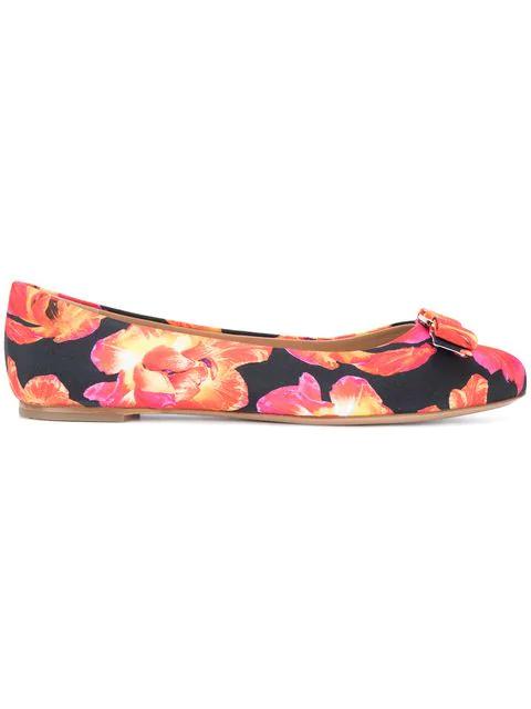 Salvatore Ferragamo Vara Floral Print Ballerina Shoes