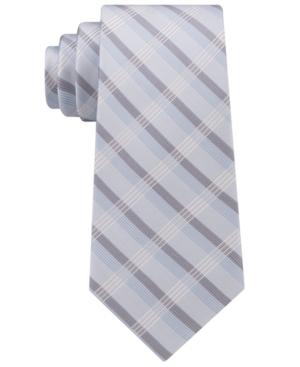 Calvin Klein Men's Creme Plaid Tie In Teal