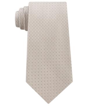 Calvin Klein Men's Simple Grid Silk Tie In Taupe