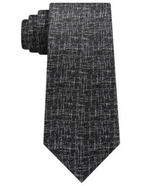 Calvin Klein Men's Etched Graphic Silk Tie In Black