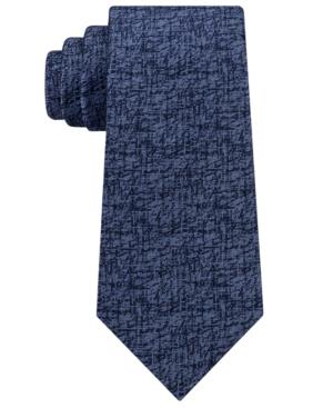 Calvin Klein Men's Etched Graphic Silk Tie In Navy