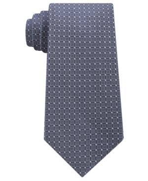Calvin Klein Men's Simple Grid Silk Tie In Charcoal