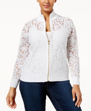 Belldini Plus Size Lace Bomber Jacket In White