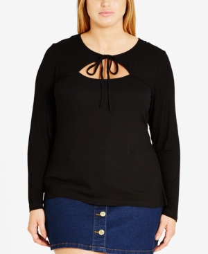 City Chic Trendy Plus Size Tie-front Top In Black