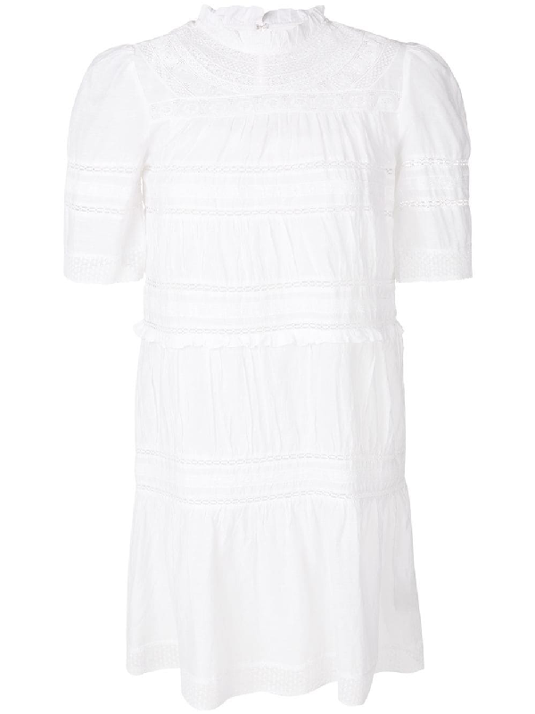 Etoile Isabel Marant Embroidered Perforated Dress In White