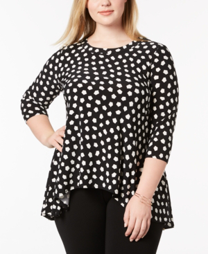 Anne Klein Plus Size Printed High-low Top In Black/white