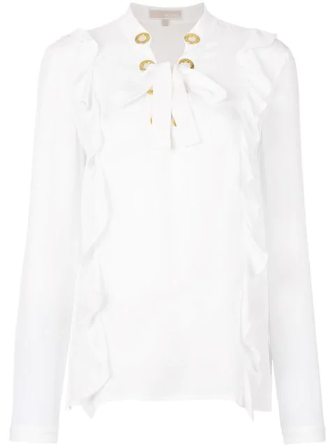 Michael Michael Kors Ruffled Lace-up Blouse - White