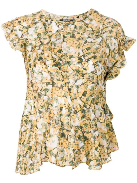 Isabel Marant Floral Printed Blouse In Yellow & Orange