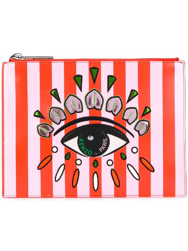 Kenzo Striped Eye Print Clutch