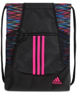 Adidas Originals Adidas Alliance Ii Sackpack In Onix React/ Black/ Hi - Res Green/ Bahia Magenta