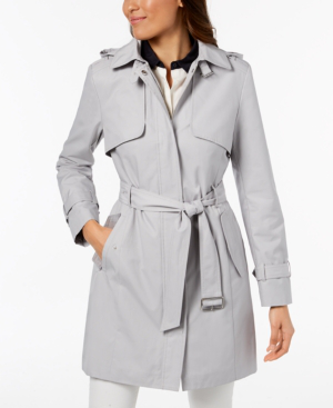 Cole Haan Signature Hooded Belted Trench Coat In Fog