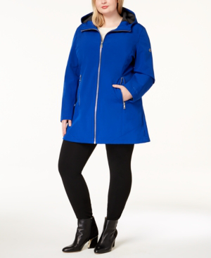Calvin Klein Plus Size Hooded Raincoat In Chaotic Blue