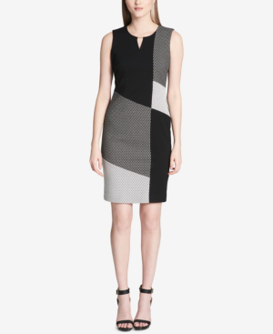 Calvin Klein Colorblocked Keyhole Dress In Black