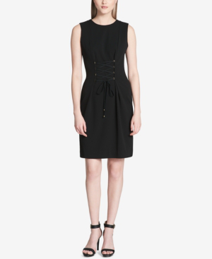Calvin Klein Sleeveless Lace Up Detail Sheath Dress In Black