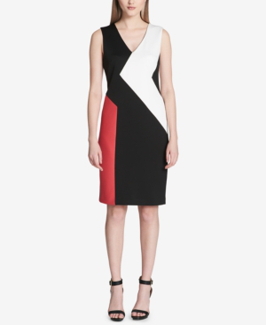 Calvin Klein V-neck Colorblocked Sheath Dress