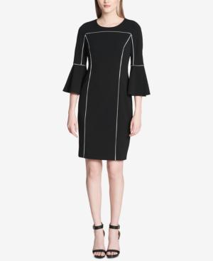 Calvin Klein Pipe-trim Bell-sleeve Dress In Black