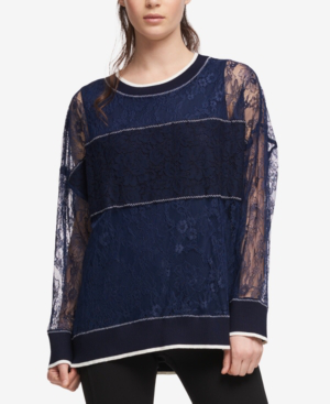 Dkny Lace Pullover With Ribbed Trim In Heritage Navy