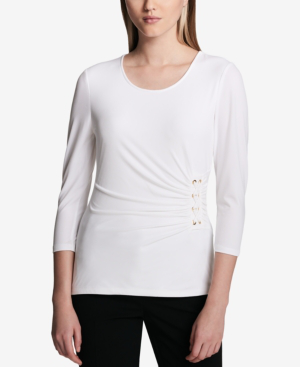 Calvin Klein 3/4-sleeve Side-laced Top In Soft White